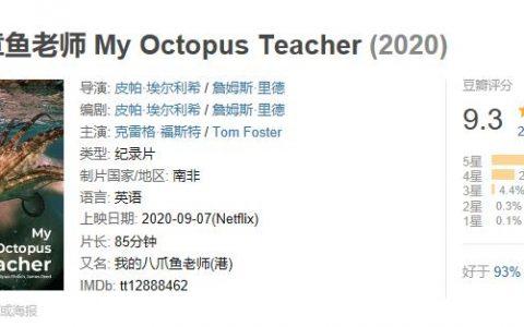 《我的章鱼老师》影评:豆瓣 9.3,网飞神作,一只章鱼用一年获得奥斯卡!